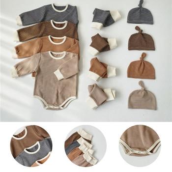 2020 Spring Newborn Baby Jumpsuit Infants Set Romper + Pants Hat 3Pcs Cotton Clothes Overalls Girl Boy Outfits