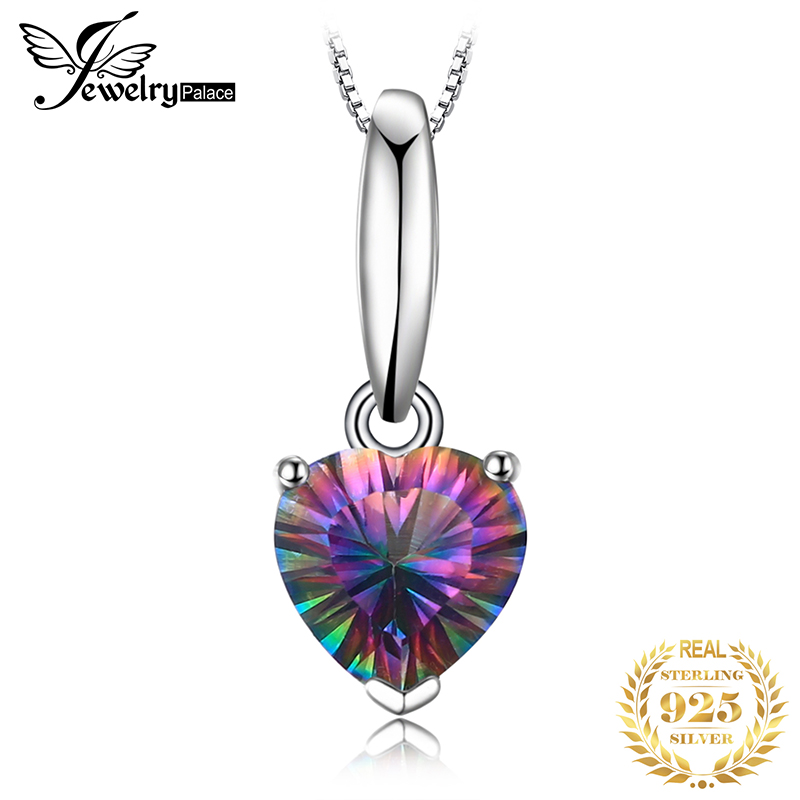 Jewelrypalace Heart Genuine Mystic Fire Rainbow Topaz Pendant Fine Jewelry Pure Solid 925 Sterling Silver Not Include A Chain