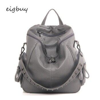 Female Folding Backpack Luxury Student Pu Zipper Solid Lock Black Business Teenage Backpacks For Girls Mochila Feminina Bookbag push lock detail pu backpack