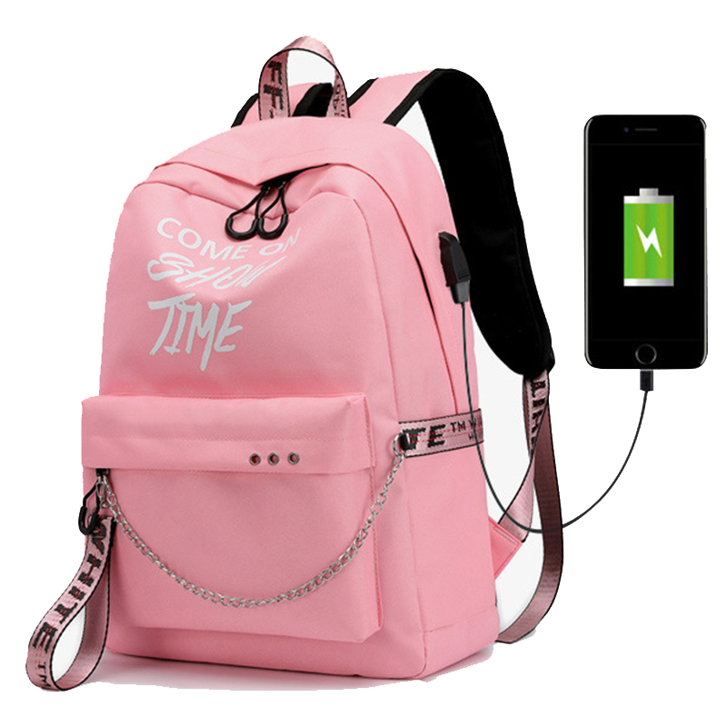 USB Charge Luminous Chain Nylon Female Book Bag Backpack Schoolbag School Bag Travel Pack Fashion Women Teenage Teenagers Girls