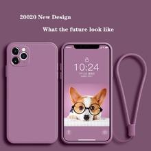 Caso de silicone líquido de luxo para iphone 11 pro max 12 caso protetor para iphone xs max xr x 7 8 6s plus se2 2020 capa com alça