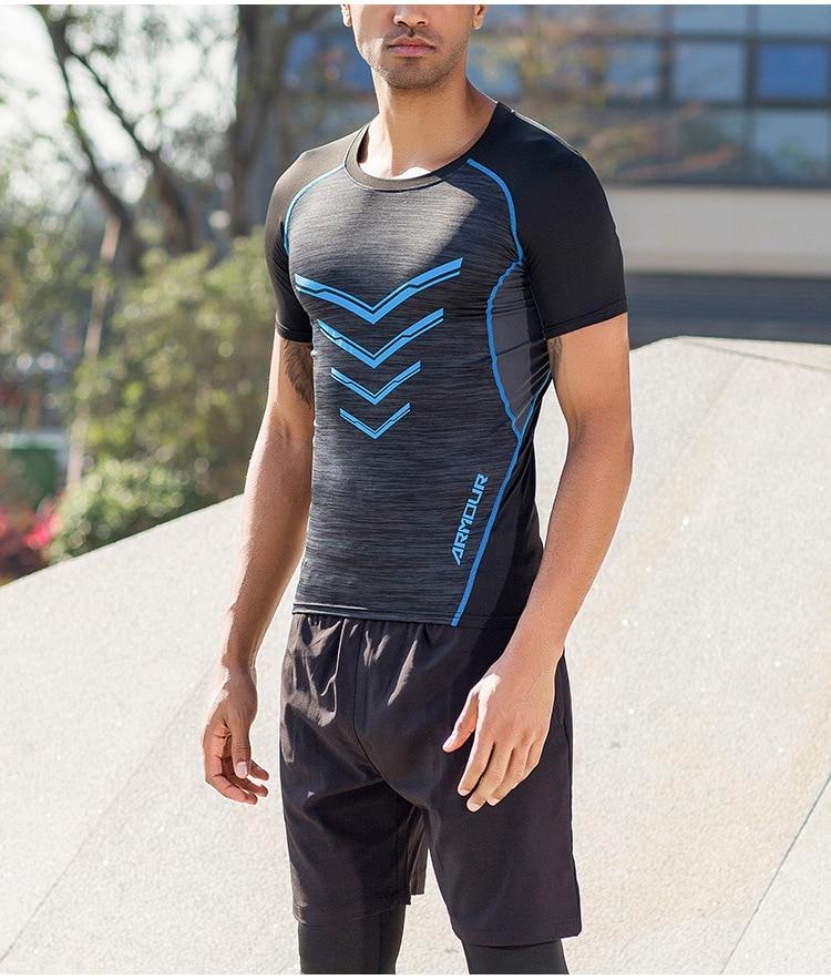Men's 2020 Running Fitness Skinny Short Sleeve T-Shirt+Sports Shorts Gym Jogging 2-Piece Set Sport Clothing Men Sports Suits