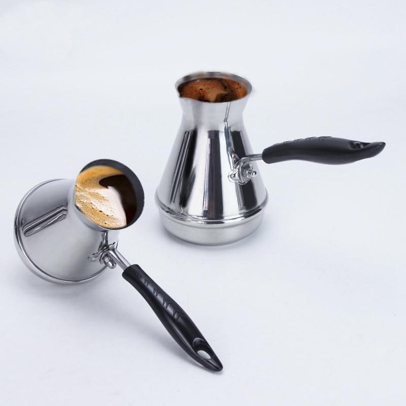 Европейский горшок Moka с длинной ручкой, портативный турецкий арабский кофейник из нержавеющей стали, сливочный горшок, кофейная посуда 350 м...