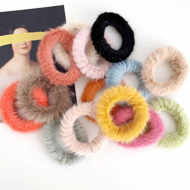 1 шт., женское пушистое кольцо для волос ярких цветов из мягкого искусственного меха, милые зимние резинки для волос, аксессуары для волос