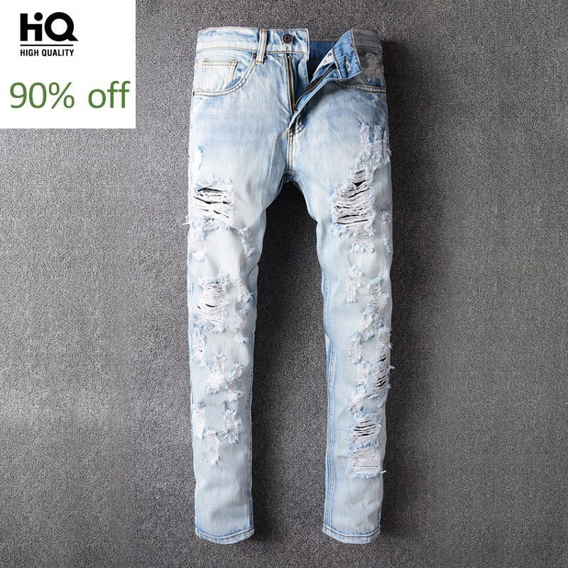 Fashion New Brand 2020 Hole Ripped Jeans For Men Embroidery Floral Full Length Casual Slim Fit Pant Mens Classical Trousers