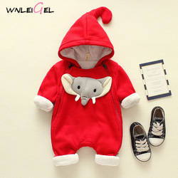WLG winter new born baby cotton thick romper toddler baby catoon elephant hooded solid rompers kids winter warm clothes