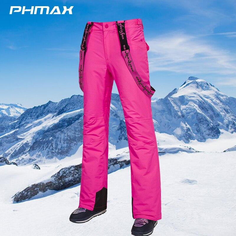 Женские лыжные штаны PHMAX, зимние водонепроницаемые уличные спортивные брюки для катания на коньках, дышащие ветрозащитные женские теплые л...