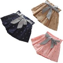 Новые летние шорты для девочек, детские юбки, шорты, детские шорты с оборками и бантом, модная одежда для девочек