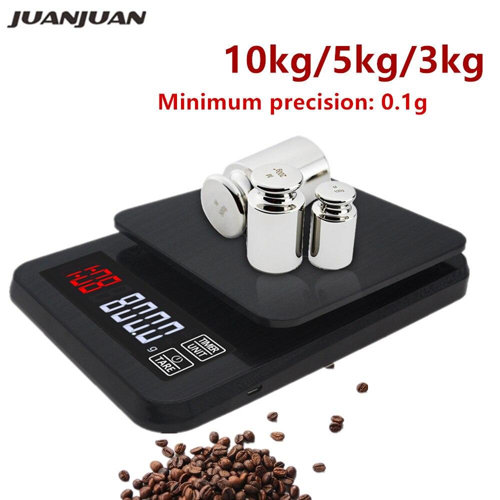 Цифровые Мини-весы 10 кг/0,1 г 5 кг/0,1 г 3 кг/0,1 г с таймером, высокоточные электронные ЖК-весы для ювелирных изделий, Скидка 40%-1