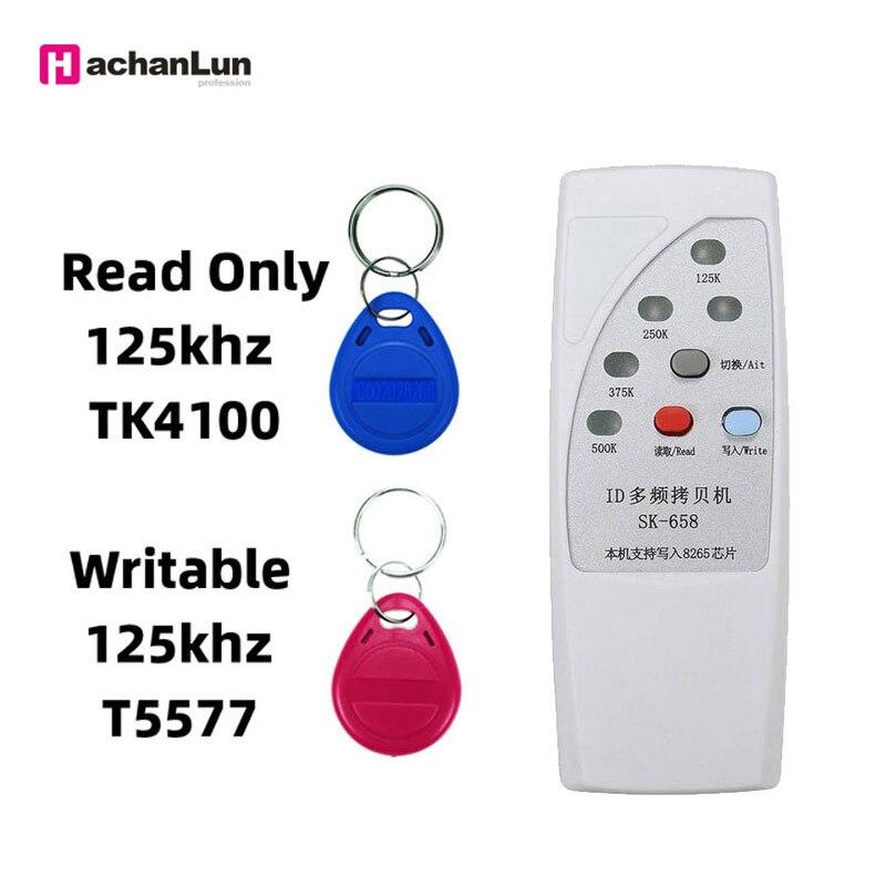 Nueva copiadora duplicadora RFID portátil 125/250/375/500 KHz lector de chip multifrecuencia ID programador 10 duplicador de copiadora RFID de frecuencia inglesa 125 Khz llavero NFC lector escritor 13,56 MHz programador cifrado USB UID copia Etiqueta de tarjeta