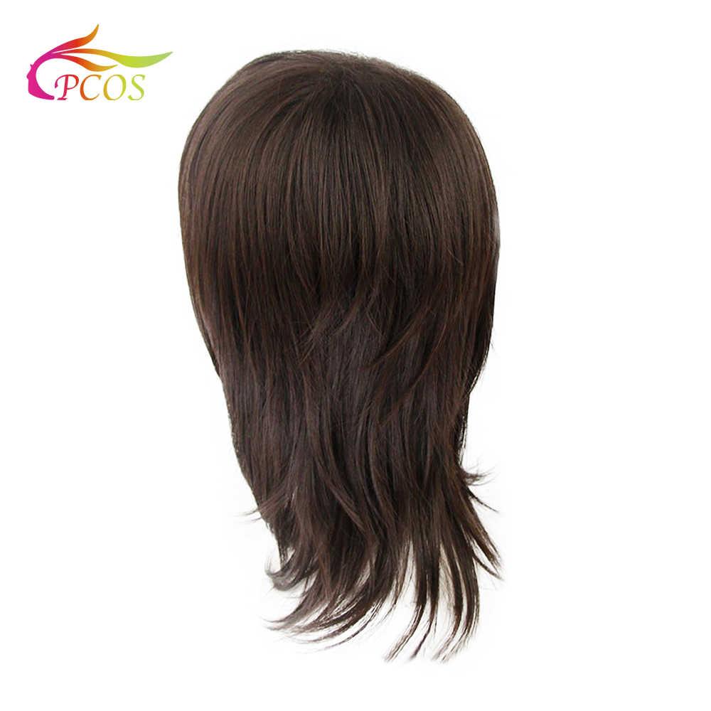 Perruque synthétique lisse brun foncé et Auburn mi-long | Coupe de cheveux en couches, belles perruques de Cosplay naturelles pour fête
