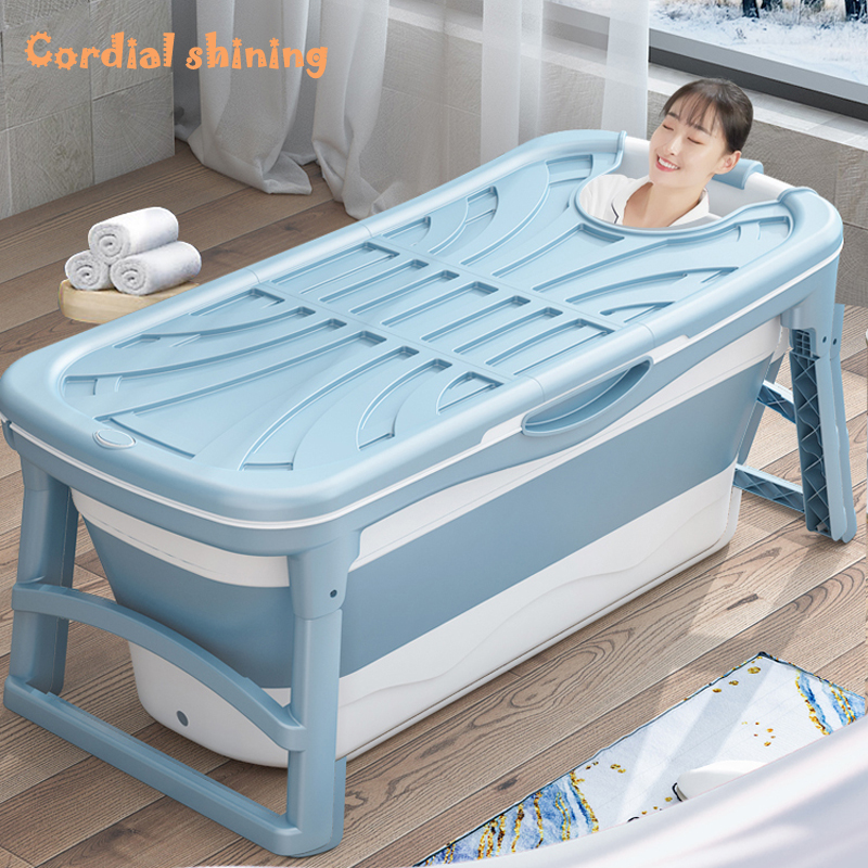 Cordial Shining 1.36M Adult Bathtub Thickened Foldable Portable Plastic Spa Sweat Steaming Massage Home Barrel