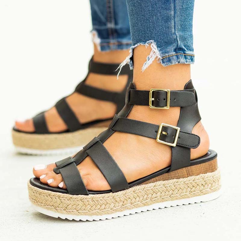 Hot Sale Women Sandals Plus Size Wedges Shoes For Women High Heels Sandals Summer Shoes 2020 Cross Hemp Rope Platform Sandals