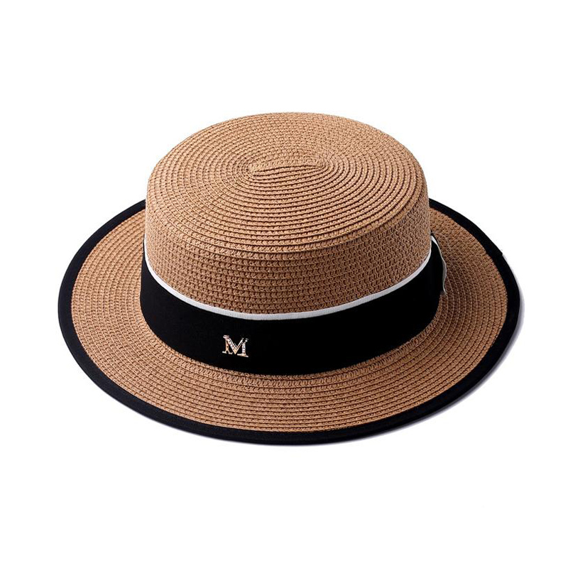 Flat Top Straw Hat Spring Summer Men And Women Trip Caps Leisure Beach Sun Hats M Letter Breathable Fashion Flower Beach Hat