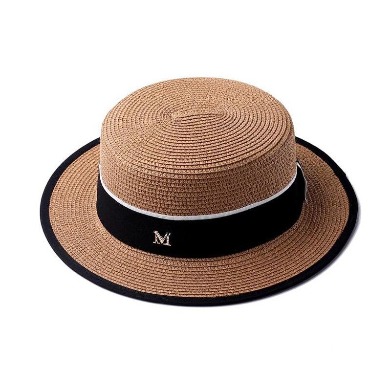 Flat Top Straw Hat Spring Summer Men and Women Trip Caps Leisure Beach Sun Hats M Letter Breathable Fashion Flower Beach Hat