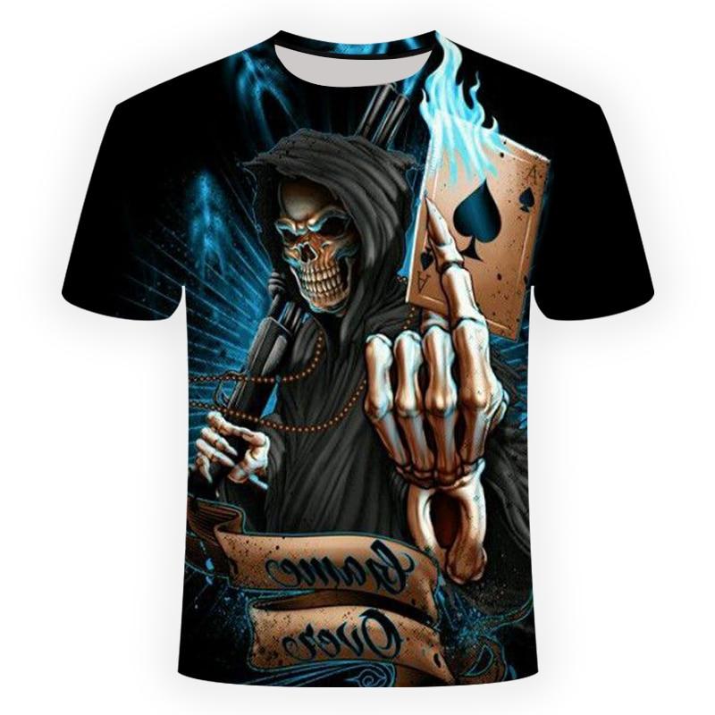 2018 NEW 3d skull poker funny t shirts Men HOT Brand Mens Casual 3D Printed T shirt Men Clothes tshirt summer top Asian size(China)