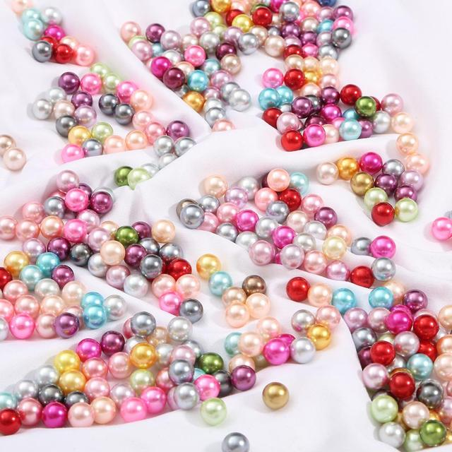 3/4/6/8/10mm Round Multi Color No Hole Acrylic Imitation pearl beads Loose beads For DIY Scrapbook Decoration Crafts Making