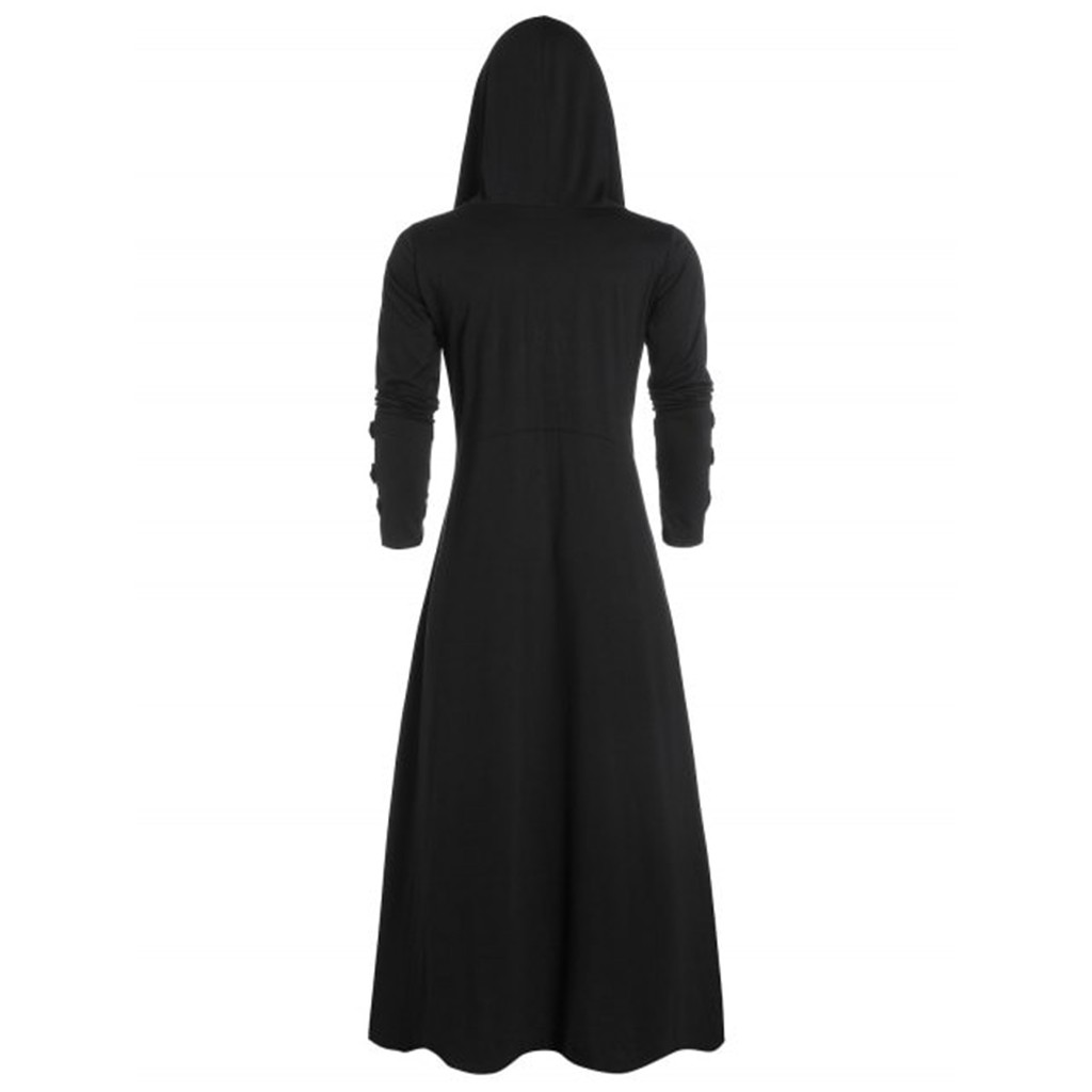 H85cc934b15b648979996cacb43b46a785 Men's Trench Retro Steam Punk Gothic Wind Cloak Coat Black Solid Casual Summer Plain Cap Cardigan Business Long Sleeve Coat Men