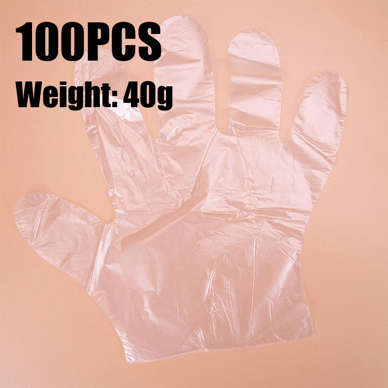 40g 100PCS Disposable Gloves Clear Hairdressers Food Salon Beauty Medical Safe Quality One-off Plastic Cleaning Kitchen BBQ