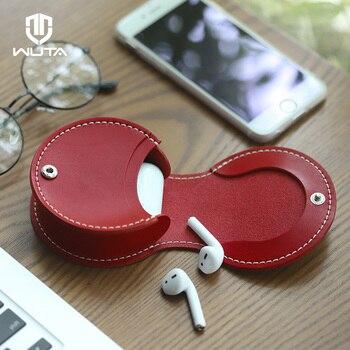WUTA 100% cuero genuino Mini herradura monedero bolsa de almacenamiento pre-perforado Semi-terminado DIY regalo de Navidad Material de costura rojo