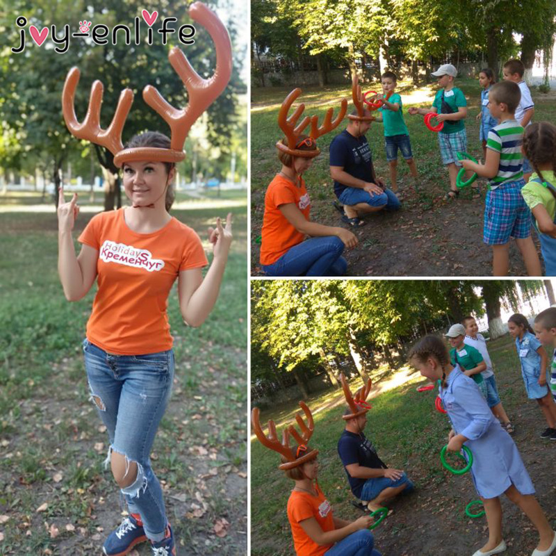 1set Inflatable Santa Funny Reindeer Antler Hat Ring Toss Christmas Holiday Party Game Christmas Outdoor Inflated Toys Supplies