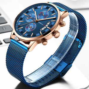 Image 4 - 2019 Mens Stylish Watches CRRJU Brand Blue Military Waterproof Sports Watch  Mens Casual Mesh Strap Quartz Clock reloj hombre