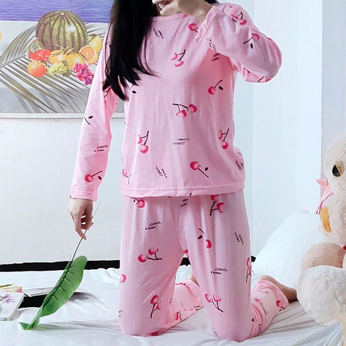 Long Sleeve   Pajamas   For Women Cherries Print Spring Autumn Loose Comfort   Pajama     Sets   For Woman Indoor Wear Home Suits