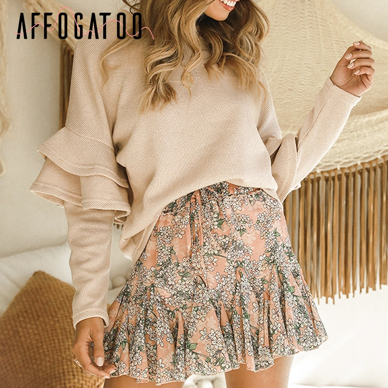 Affogatoo Casual Loose Ruffle Women Knitted Sweater Elegant Autumn Winter Pullover Sweaters Fashion Office Ladies Jumper Sweater