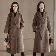 Женское офисное пальто, длинное шерстяное пальто с отложным воротником и поясом, свободная однотонная верхняя одежда, зима 2019