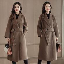 Abrigo largo de mezcla de lana para mujer, cinturón de oficina, con cuello vuelto abrigo de lana, chaqueta Lisa holgada, para invierno, 2019