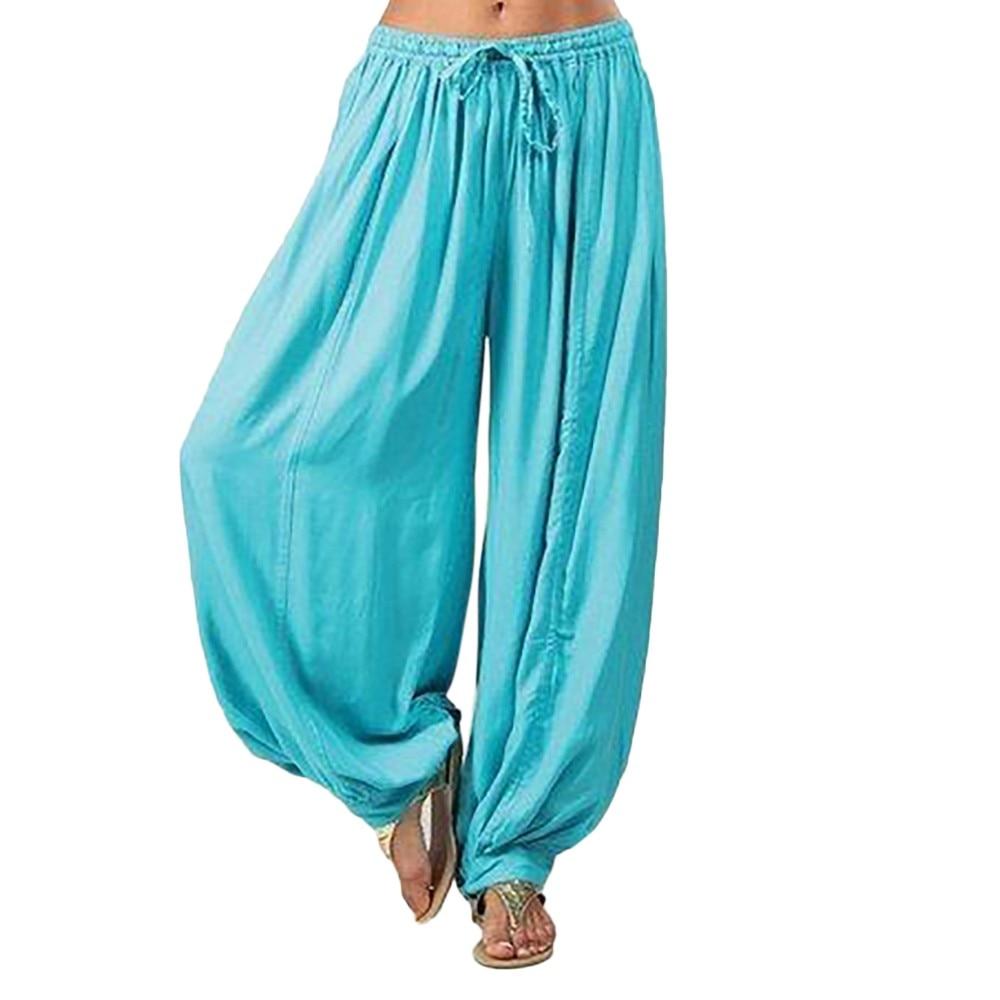 Women Solid Color Casual Loose Harem Pants Cotton Linen Full Length Trousers