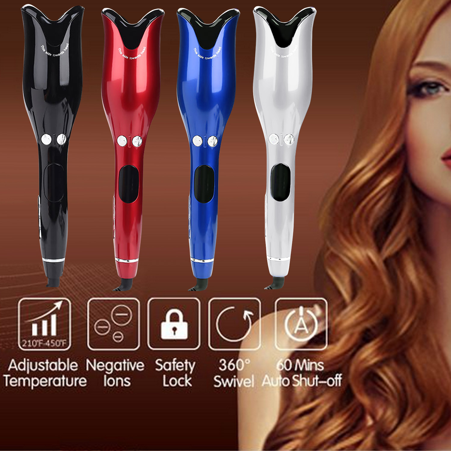 4-Gear Adjustable Temperature Rose-shaped Ceramic Automatic Hair Curling Curler Wand Waver Roller Styling Tools for Women Girls image