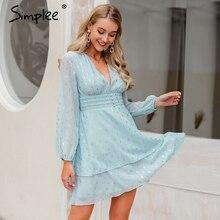 Simplee セクシーなディープ v ネックの女性 geomatric プリントシャーリングハイウエストパーティードレスランタンシフォンボタンイブニングサマードレス