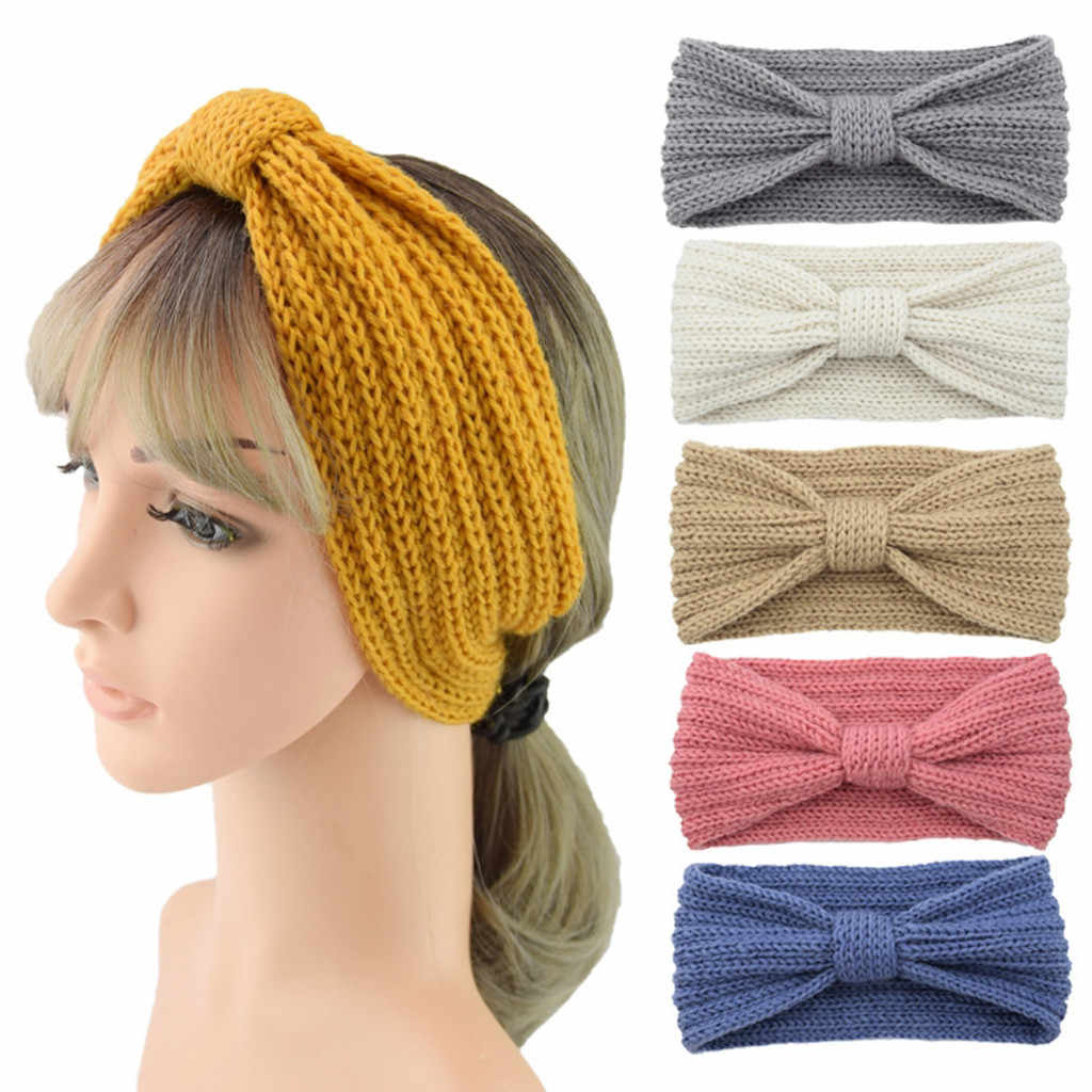Fashion Women Thermal Hand Knitting Wool Head Hairband Sweet Girls Hair Hairband Girls Makeup Elastic Hair Bands Accessories
