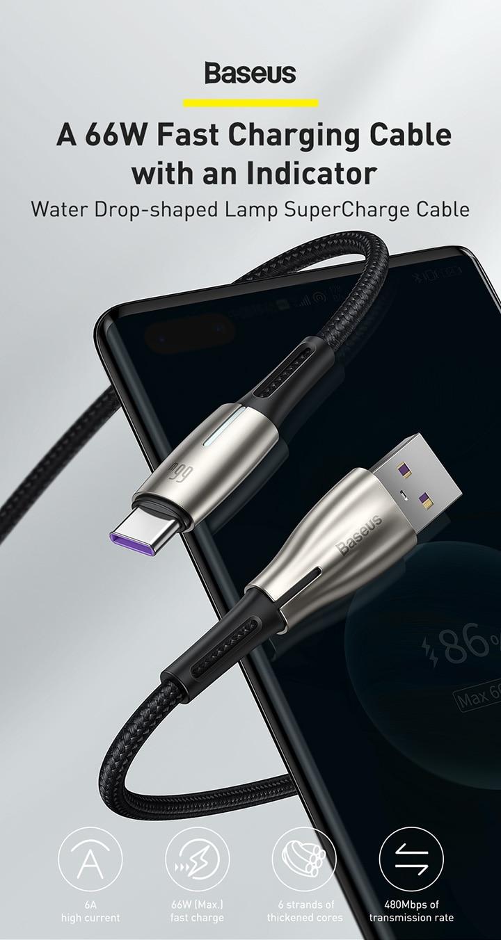 Baseus 66W 6A USB Type C Super Charge Cable 5