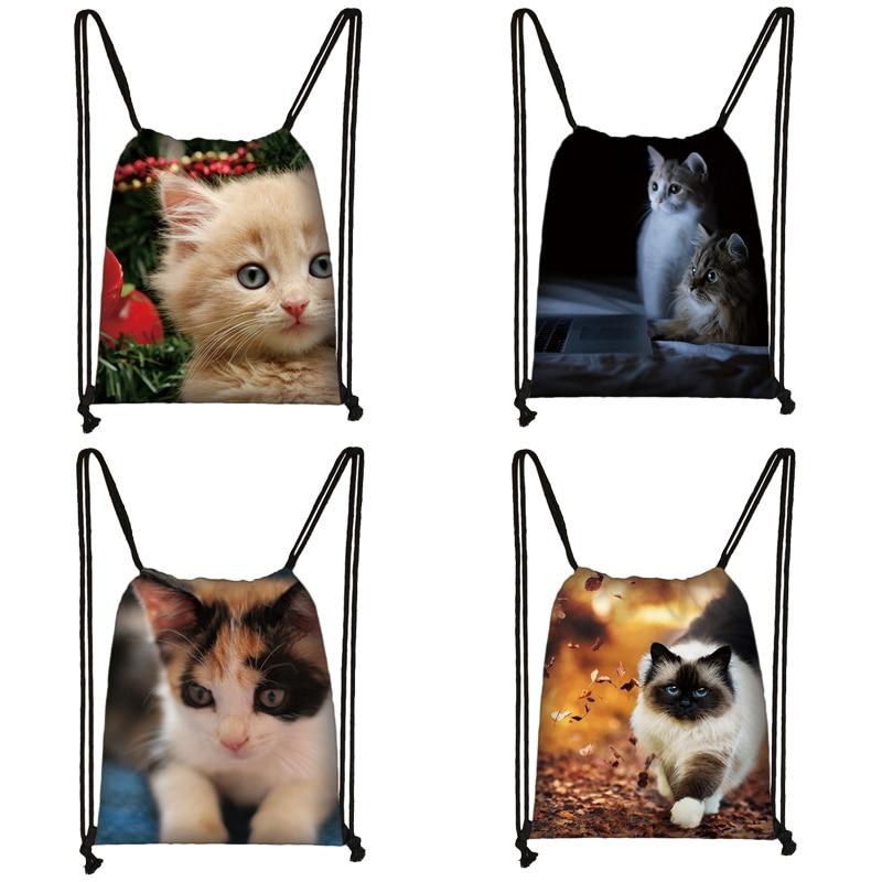 Cute Cat Print Drawstring Bag Women Travel Bag Teenager School Bag Brown Girl And Boy Backpack Fashion Female Storage Bags To333