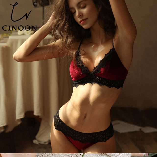CINOON New Velvet Bra set Luxury Lace Trim Underwear Women Lingerie Soft Comfortable Brassier VS Underwear Women Set