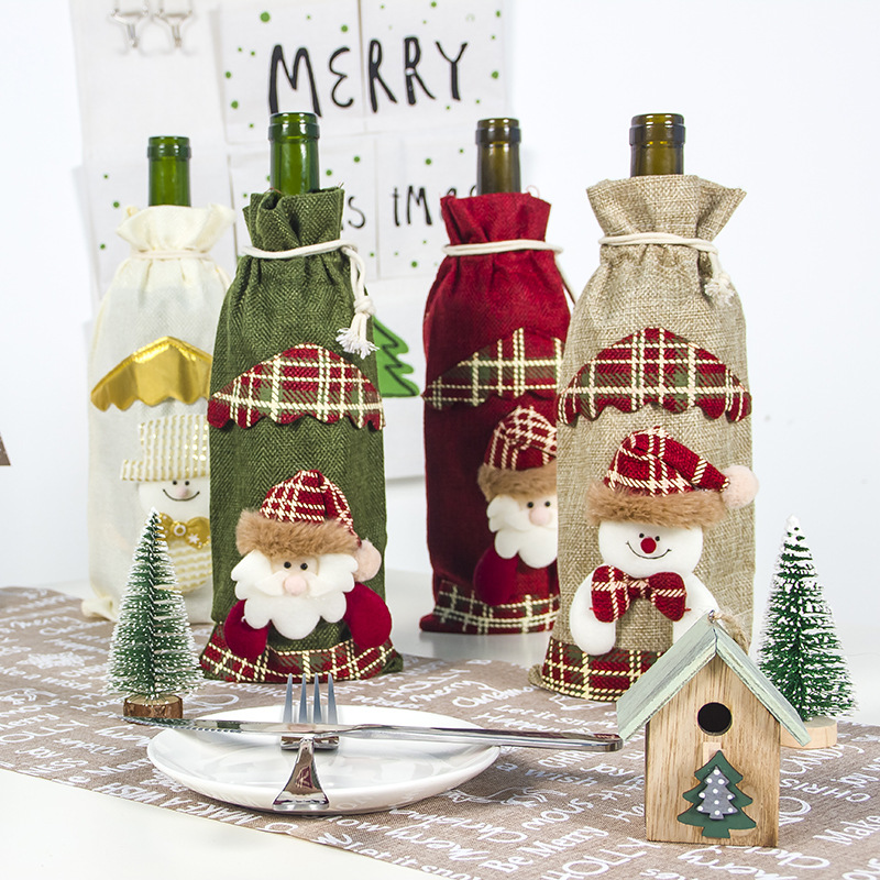 2020 Christmas Red Wine Bottle Covers Bag Santa Clause Snowman Linen Champagne Bottle Covers Christmas Party Home Decor Table