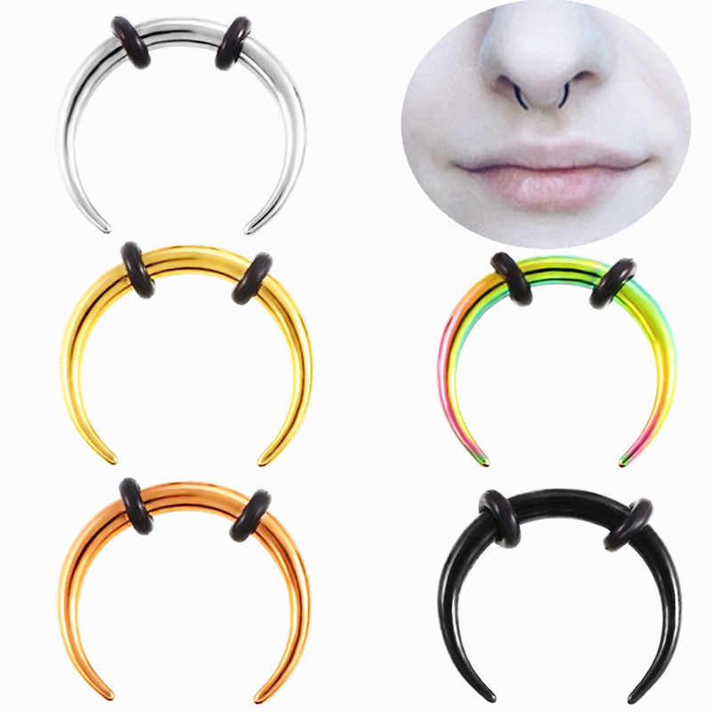 1Pc Sexy Surgical Steel OX Horn Vintage Nose Septum Hoop Rings Ear Septum Clicker Horseshoe Nose Ear Taper Piercing Body Jewelry
