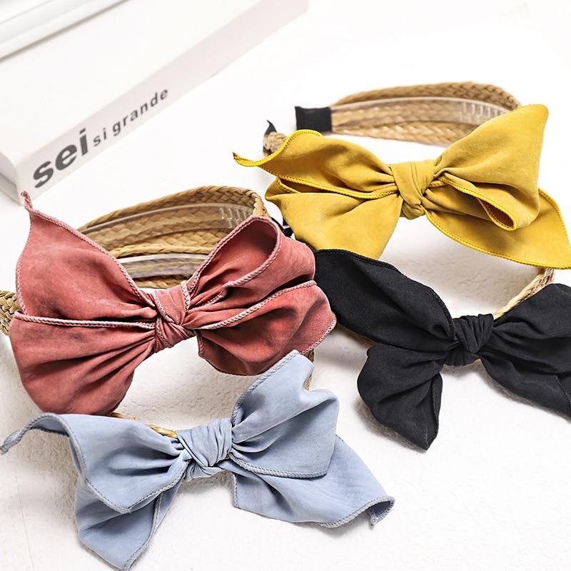 Vintage Bohemian Straw Weaving Headband Bow Hairband For Women Girls Hair Accessories Hair Jewelry