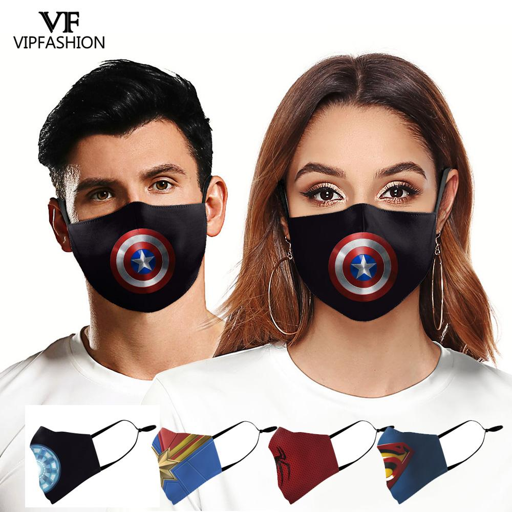 VIP FASHION Adult Anime Superhero Print Face Mask Washable Fabric Mouth Mask Adjustable Dust-proof Anti-pollution Mouth-muffle