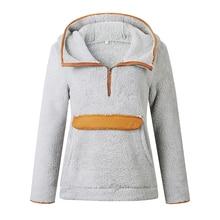 Liva girl Autumn Winter Patchwork Faux Fur Hoodies Women Pockets Fleece Winter Sweatshirt Casual Zipper Hooded Pullovers