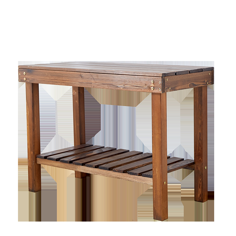 Solid Wood Quality Anticorrosive Wood Ground Fish Tank Assemble Flowerpot Frame Indoor Multi-storey Carbonization Wooden Rack