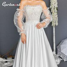 Женское свадебное платье с открытыми плечами белое кружевное