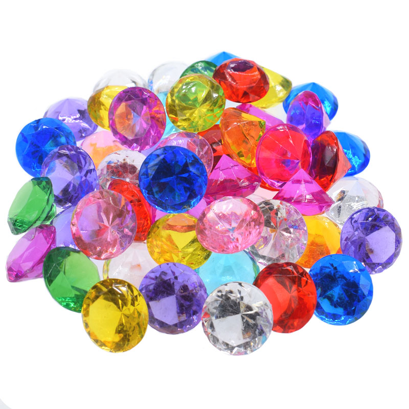 12Pcs Clear Acrylic Diamond Gems Faceted Beads Birthday Wedding Table Vase Filler Faux Diamond Jewels For Party Decoration 18mm