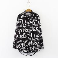 Graffiti letter printing Blouse Shirt