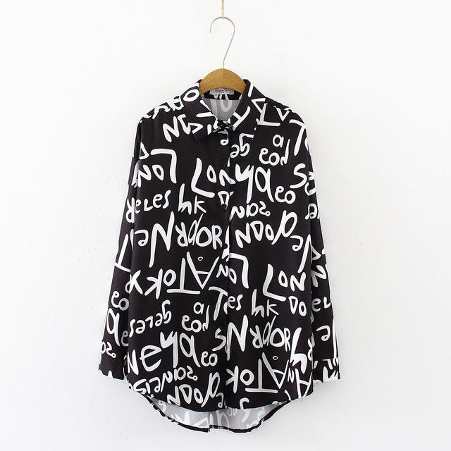 Graffiti letter printing Blouse Shirt