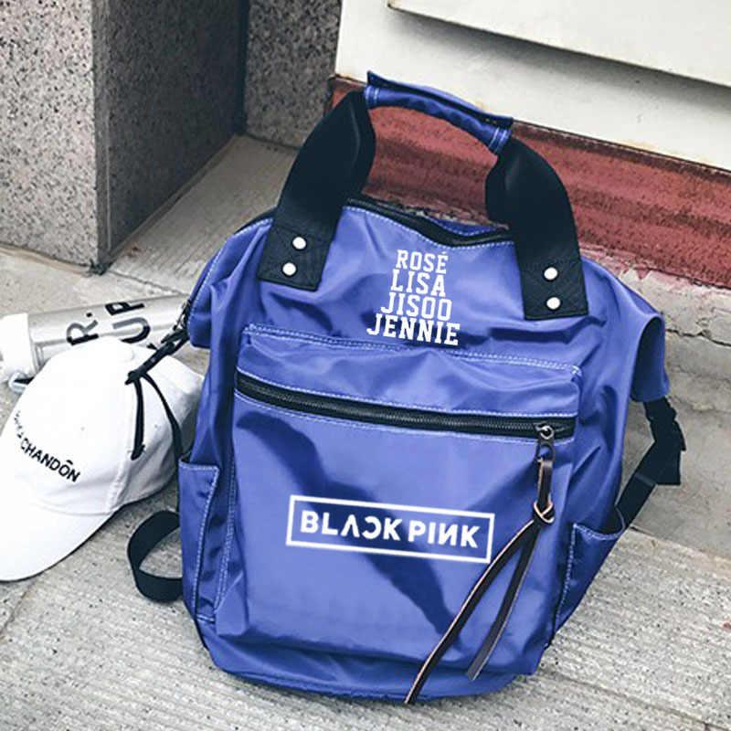 KPOP BLACKPINK ליזה JISOO ג 'ני עלה ילקוט כפול כתף אופנה תיק בד תיק זכר ונקבה תלמיד תרמיל חדש