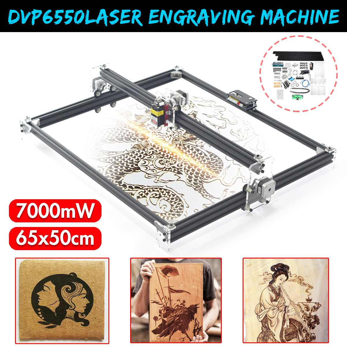 DVP6550 7000MW/6000MW/3000MW Blue CNC Laser Engraving Machine 2Axis DC 12V DIY Engraver Desktop Wood Router/Cutter/Printer+Laser