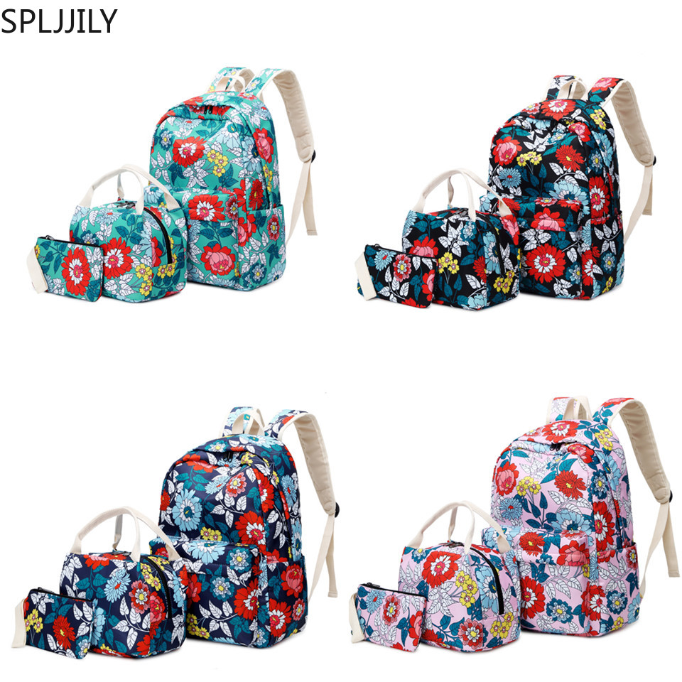 SPLJJILY Backpack Set For Girls, Fashion Floral Nylon Waterproof Casual Daypacks Schoolbag With Lunch Bag And Pencil Case